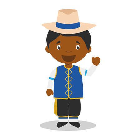Character from Barbados dressed in the traditional way Vector Illustration. Kids of the World Collection. Illustration