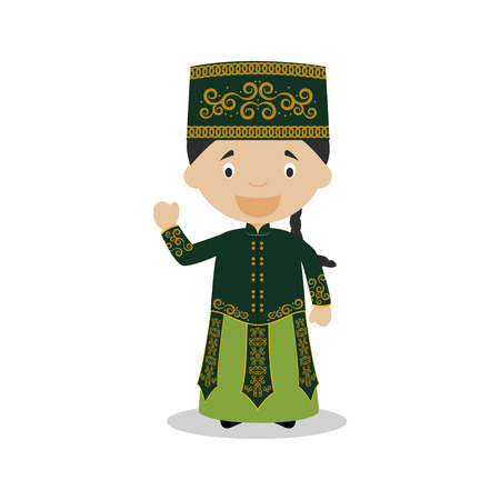 diversity of the region: Character from Uzbekistan dressed in the traditional way Illustration