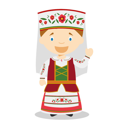diversity of the region: Character from Belarus dressed in the traditional way Illustration Illustration