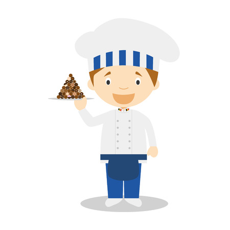 diversity of the region: Pastry Chef Character with chocolates typical of Belgium