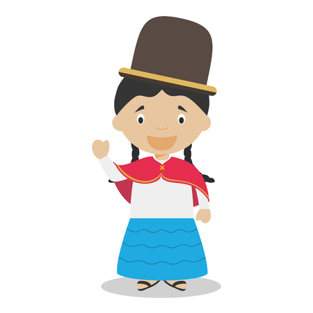 Character from Bolivia dressed in the traditional way Illustration