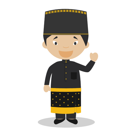 diversity of the region: Character from Brunei dressed in the traditional way Illustration