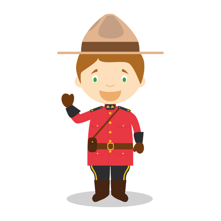 Character from Canada dressed in the traditional way as a Mounted Policeman. Illustration