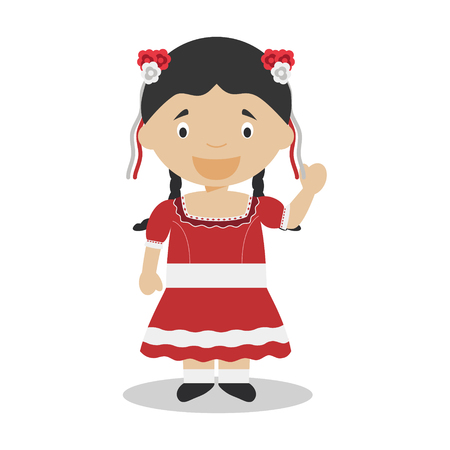 Character from Chile dressed in the traditional way Illustration