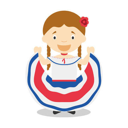 diversity of the region: Character from Costa Rica dressed in the traditional way Vector Illustration. Kids of the World Collection.