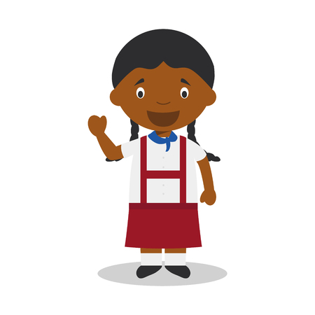 diversity of the region: Character from Cuba dressed in the traditional way Illustration. Kids of the World Collection.