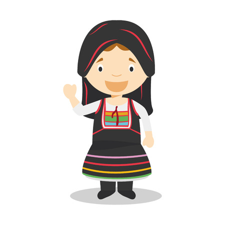 diversity of the region: Character from Cyprus dressed in the traditional way Illustration. Kids of the World Collection.