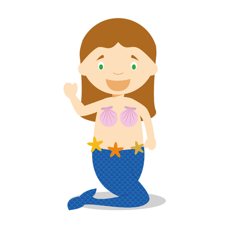 diversity of the region: Little girl dressed as a mermaid Illustration