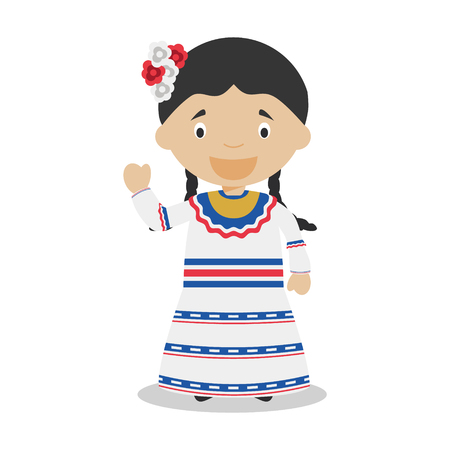 latin american girls: Character from Dominican Republic dressed in the traditional way Illustration