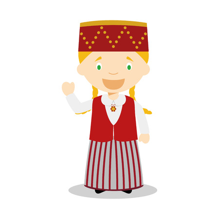 diversity of the region: Character from Estonia dressed in the traditional way Illustration