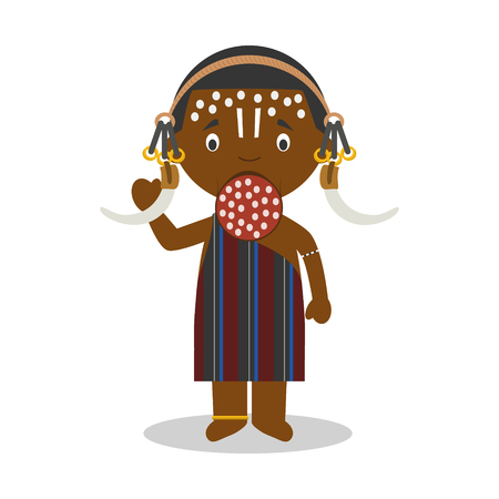 Character from Ethiopia (Mursi Tribe) dressed in the traditional way Illustration.