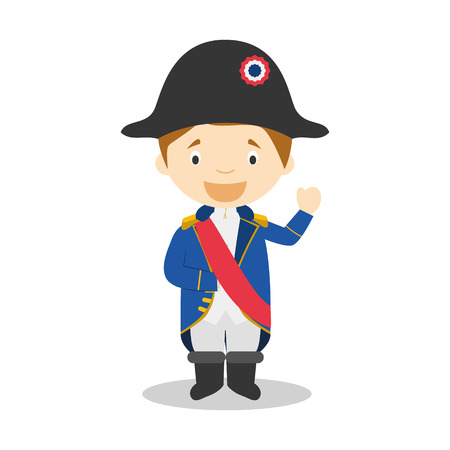 napoleon bonaparte: Napoleon Bonaparte cartoon character Illustration. Kids Collection.