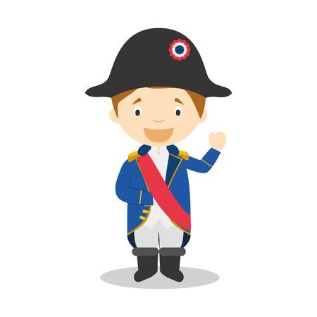 bonaparte: Napoleon Bonaparte cartoon character Illustration. Kids Collection.