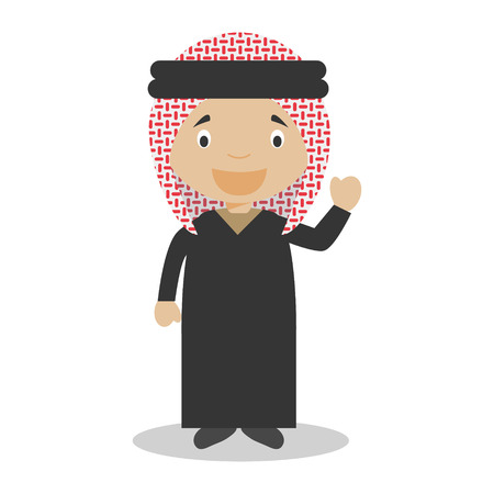 diversity of the region: Character from Jordan dressed in the traditional way Illustration. Illustration