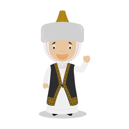 diversity of the region: Character from Kazakhstan dressed in the traditional way Illustration. Kids of the World Collection.