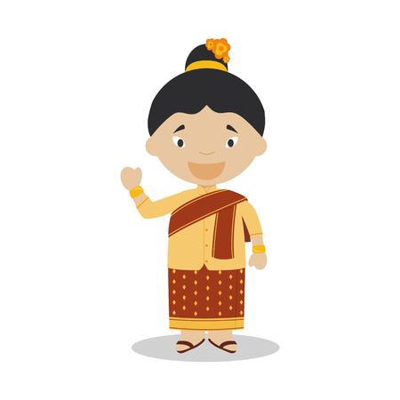 laotian: Character from Laos dressed in the traditional way Illustration. Kids of the World Collection.