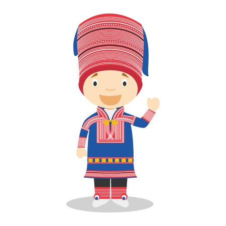 diversity of the region: Character from Lapland dressed in the traditional way Illustration. Kids of the World Collection.