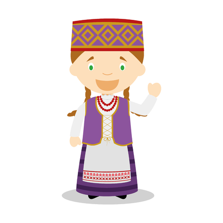 diversity of the region: Character from Lithuania dressed in the traditional way Illustration. Kids of the World Collection.