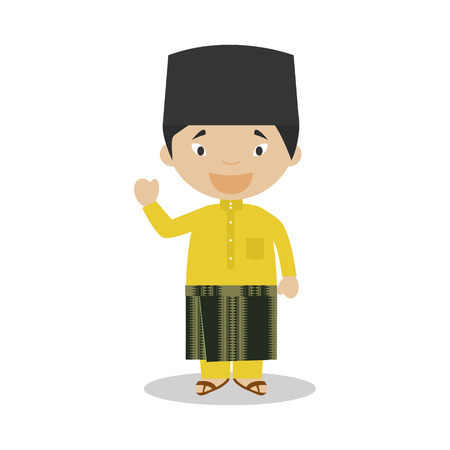 diversity of the region: Character from Malaysia dressed in the traditional way Illustration. Kids of the World Collection. Illustration