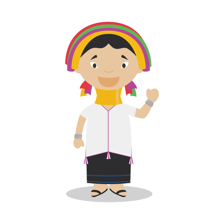 diversity of the region: Padaung girl character from Myanmar (Kayan Tribe) dressed in the traditional way Illustration. Kids of the World Collection. Illustration