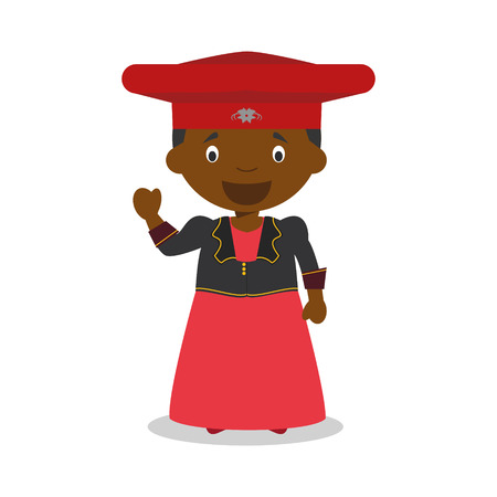 diversity of the region: Character from Namibia (Herero Tribe) dressed in the traditional way Illustration. Kids of the World Collection. Illustration