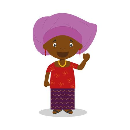나이지리아 출신의 캐릭터는 전통적인 방식으로 옷을 입었다. 일러스트