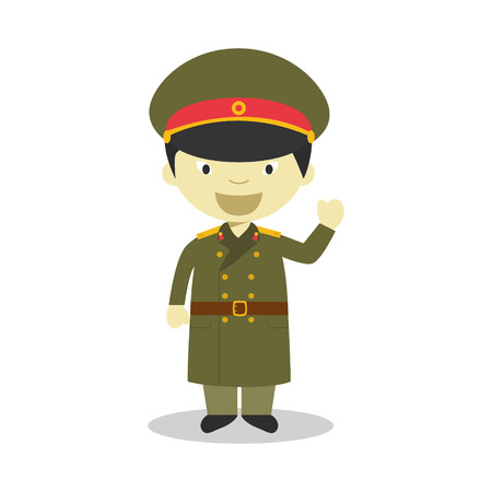 diversity of the region: Character from North Korea dressed in the traditional way as a military. Illustration