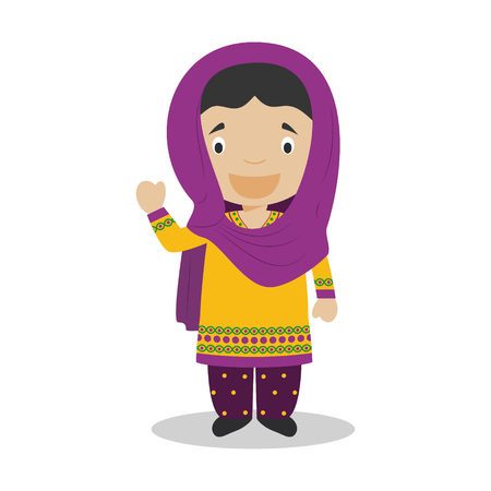 diversity of the region: Character from Pakistan dressed in the traditional way Illustration