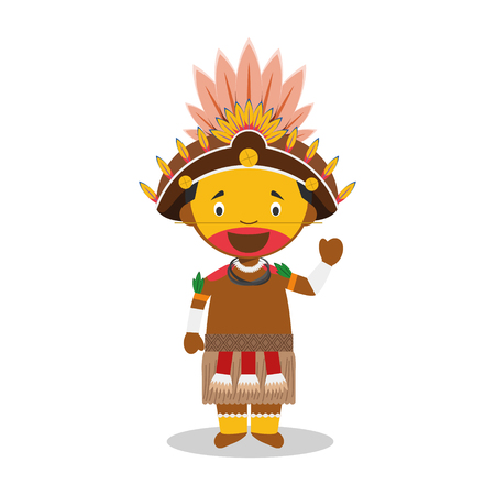 Character from Papua New Guinea (Dani Tribe) dressed in the traditional way Illustration.