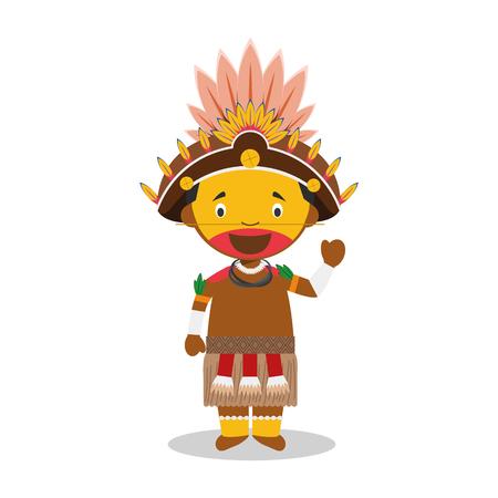 パプア ニューギニア (だに族) から文字は図の従来の方法で服を着た。  イラスト・ベクター素材