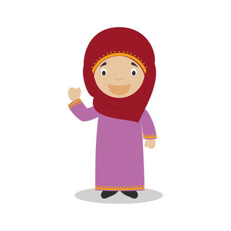 diversity of the region: Character from Qatar dressed in the traditional way Illustration