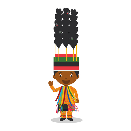 diversity of the region: Character from Saint Kitts and Nevis dressed in the traditional way for carnival Illustration