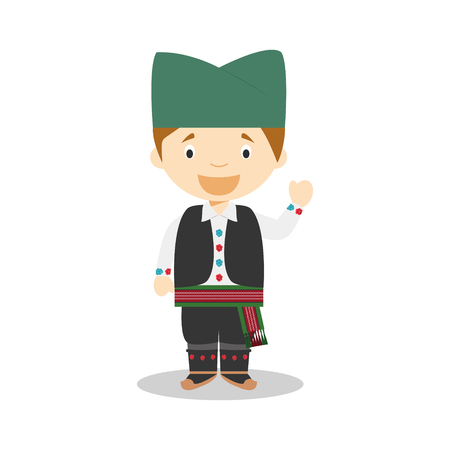 diversity of the region: Character from Serbia dressed in the traditional way Illustration
