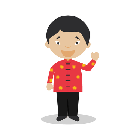 diversity of the region: Character from Singapore dressed in the traditional way Illustration