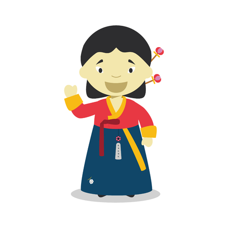 korea girl: Character from South Korea dressed in the traditional way with hanbok.