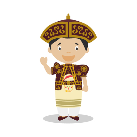 Character from Sri Lanka dressed in the traditional wedding way Vector Illustration. Kids of the World Collection.