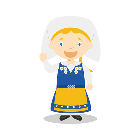 diversity of the region: Character from Sweden dressed in the traditional way Illustration