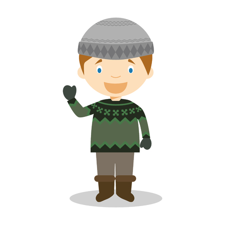 Character from Iceland dressed in the traditional way with the typical lopapeysa sweater. Illustration