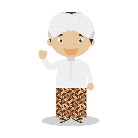 Character from Indonesia dressed in the traditional way Illustration