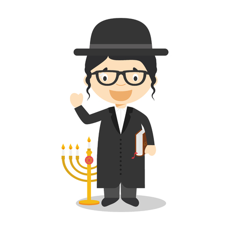 diversity of the region: Jewish Rabbi cartoon character from Israel dressed in the traditional way