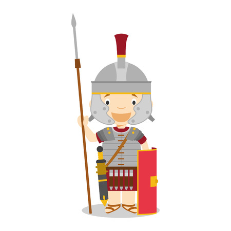 diversity of the region: Character from Italy dressed in the traditional way as a Roman Legionary. Vector Illustration. Kids of the World Collection.