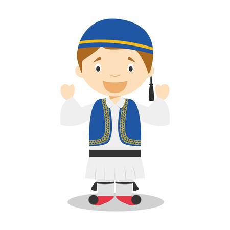 Character from Greece dressed in the traditional way as a Sirtaki dancer. Vector Illustration. Kids of the World Collection.