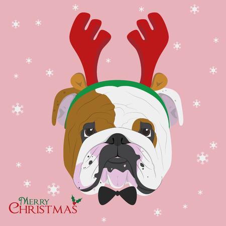 Christmas greeting card. English Bulldog dog with reindeer horns