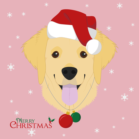 Christmas greeting card golden retriever dog with red santas christmas greeting card golden retriever dog with red santas hat and chistmas toy balls stock m4hsunfo
