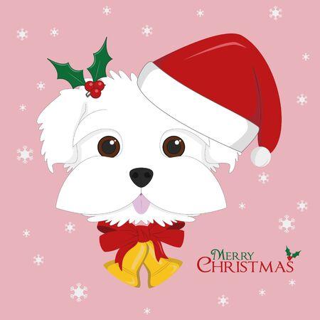 Christmas greeting card. Maltese dog with red Santas hat and Christmas bells