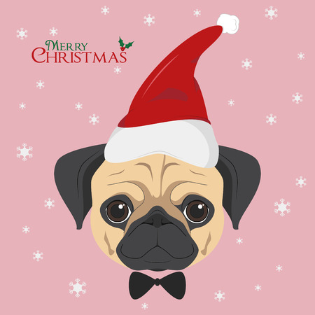 Christmas greeting card. Pug dog with red Santa's hat