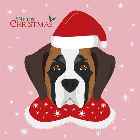 Christmas greeting card. Saint Bernard dog with red Santas hat Illustration