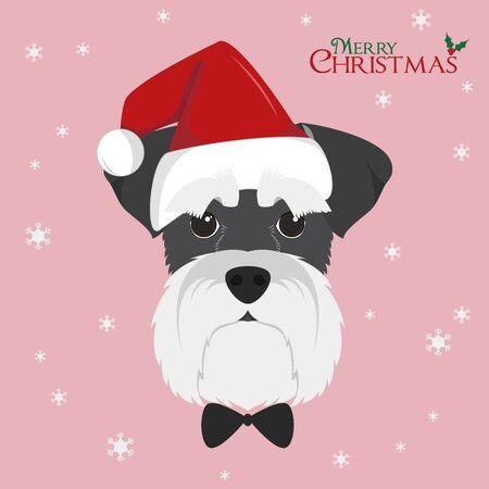 クリスマスのグリーティング カード。赤いサンタさんの帽子を持つシュナウザー犬