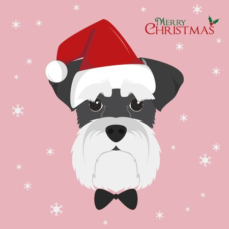 Christmas greeting card. Schnauzer dog with red Santas hat Иллюстрация