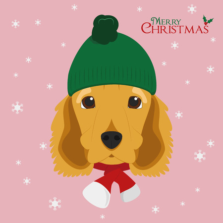Christmas greeting card. English Cocker Spaniel dog wearing a woolen cap for winter